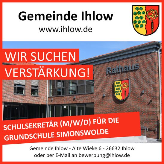 Stellenausschreibung: Schulsekretär (m/w/d) für die Grundschule Simonswolde