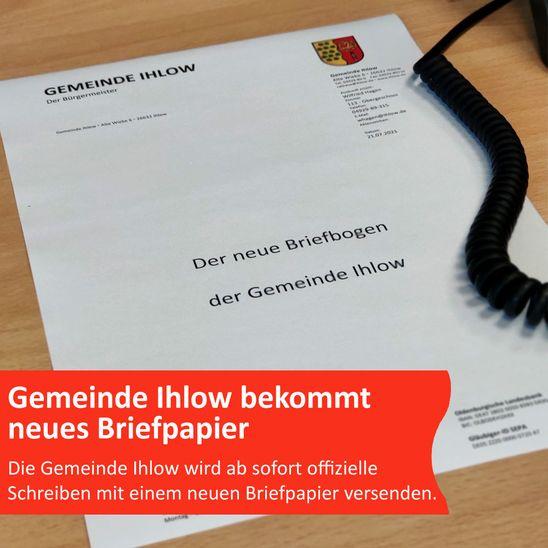 Gemeinde Ihlow bekommt neues Briefpapier