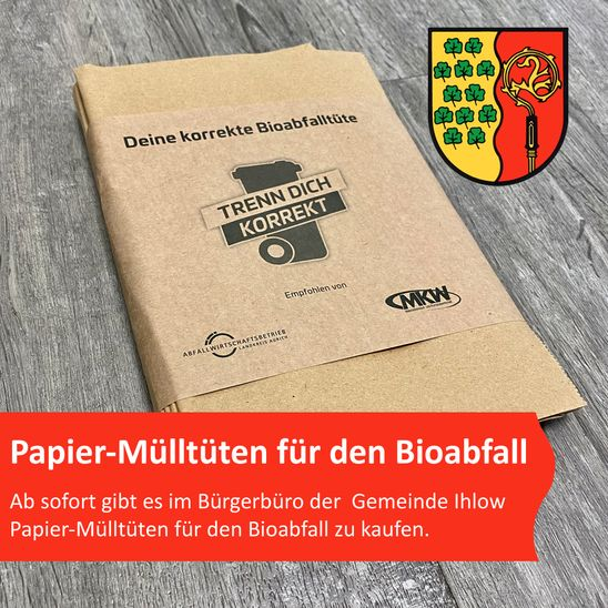 Papier-Mülltüten für den Bioabfall jetzt im Bürgerbüro der Gemeinde Ihlow erhältlich