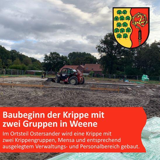 Baubeginn der Krippe mit zwei Gruppen in Weene