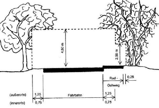 Darstellung zur Freihaltung des Lichtraumprofils an Straßen